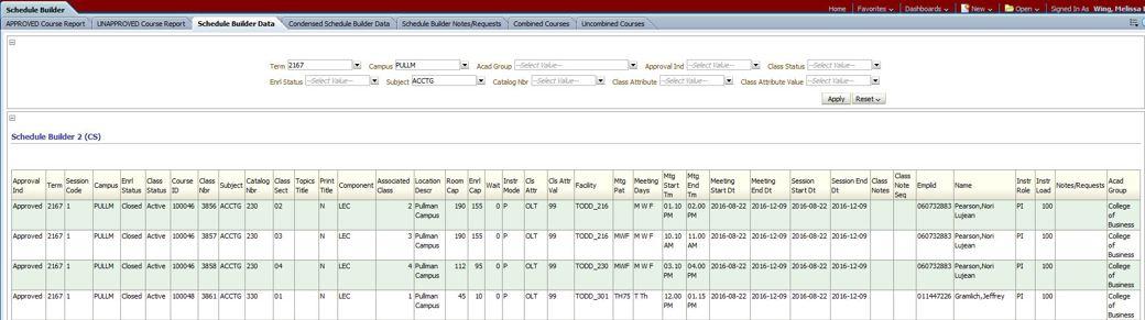 schedule builder data academic room scheduling
