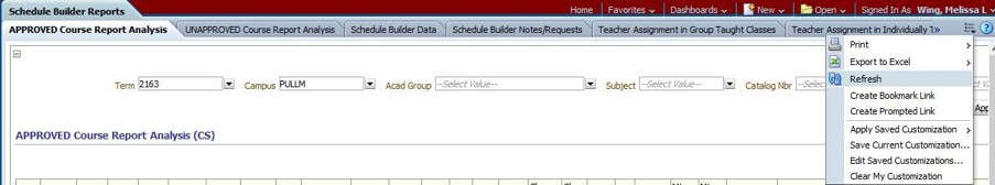 obiee reports academic room scheduling