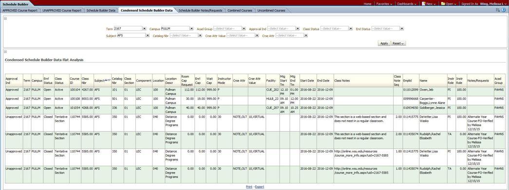 Condensed Schedule Builder Data Academic Room Scheduling