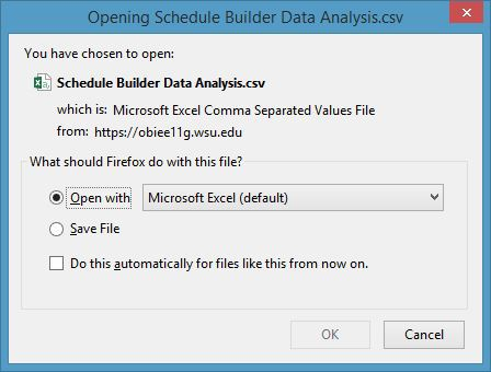 exporting obiee reports into excel academic room scheduling